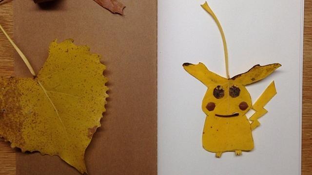 落ち葉や小石で作ったポケモンキャラクターのクオリティがすごい!!