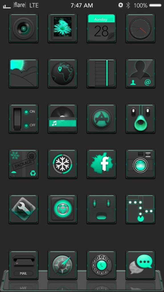 [Theme] iPhone新作テーマ4種!! F1are dark red・F1are dark mint green・iOS 8 Theme・blueprint iOS7