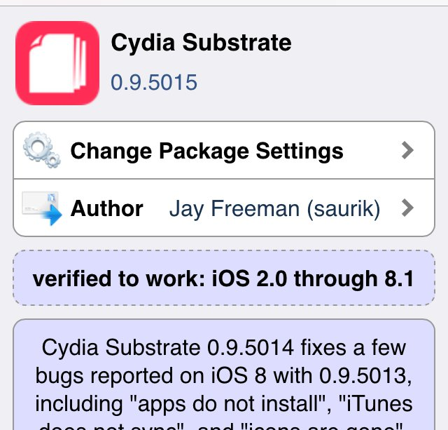 Cydia Substrate updated to 0.9.5015